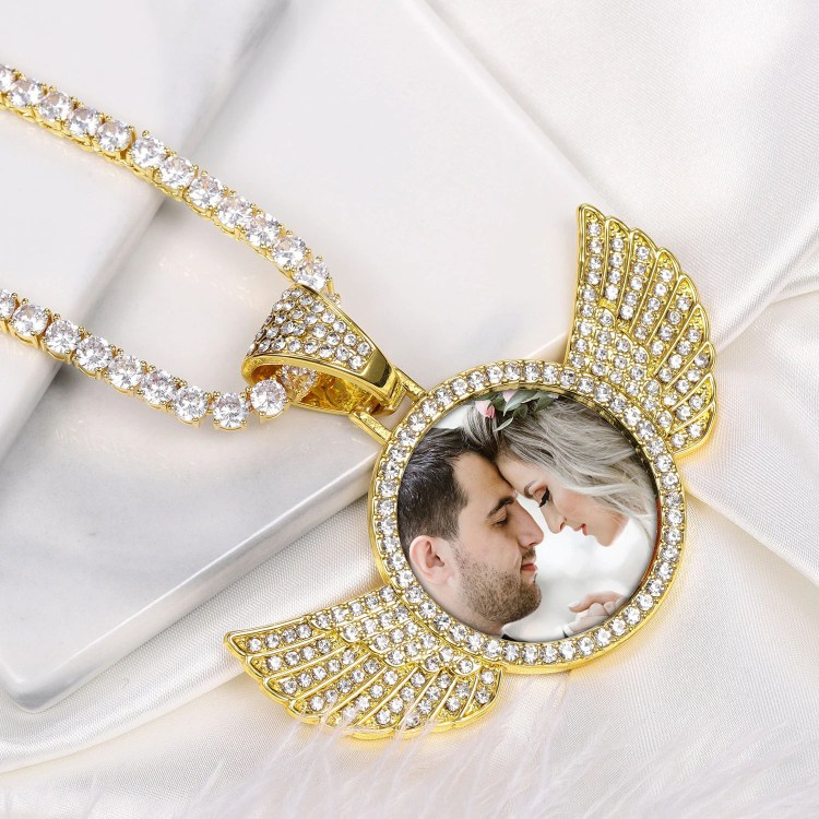 iced out angel wings sparkling custom photo necklace