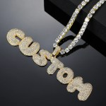 personalized bling bubble letter iced out necklace for men women in hip hop style