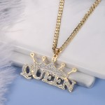 personalized crystal inlaid custom crown iced out bling name necklace for women