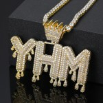 personalized iced out crown bail bubble letter name necklace for men