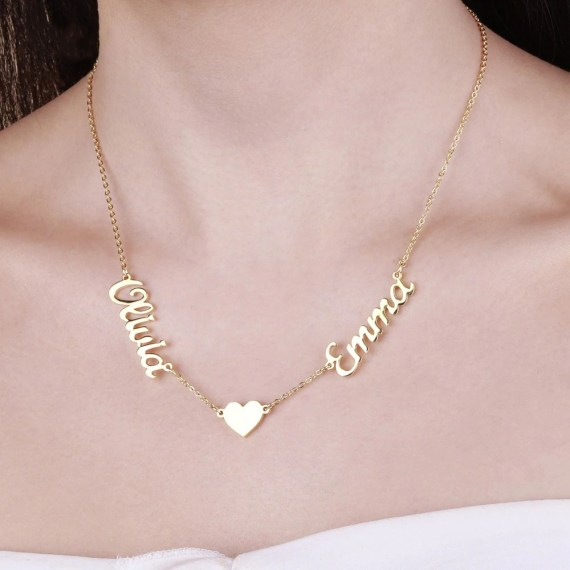 latest fashion trend choker necklace design with 2 names and heart symbol