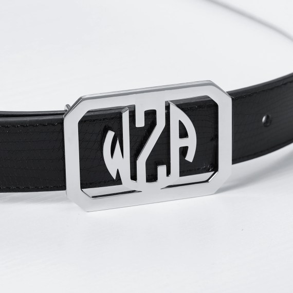 belt style for men and women in silver color round square shape monogram english 3 letters