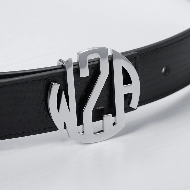 round circle 3 english letters monogram style silver color custom belt buckle