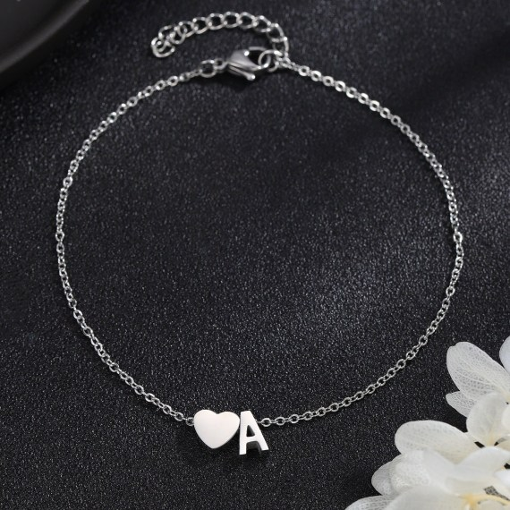 silver color initial letter name personalized custom anklet design
