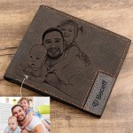 custom picture engraved wallet for father husband brother son birthday gift