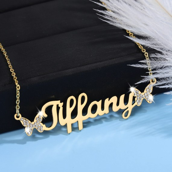 personalized cute butterfly symbol custom name necklace