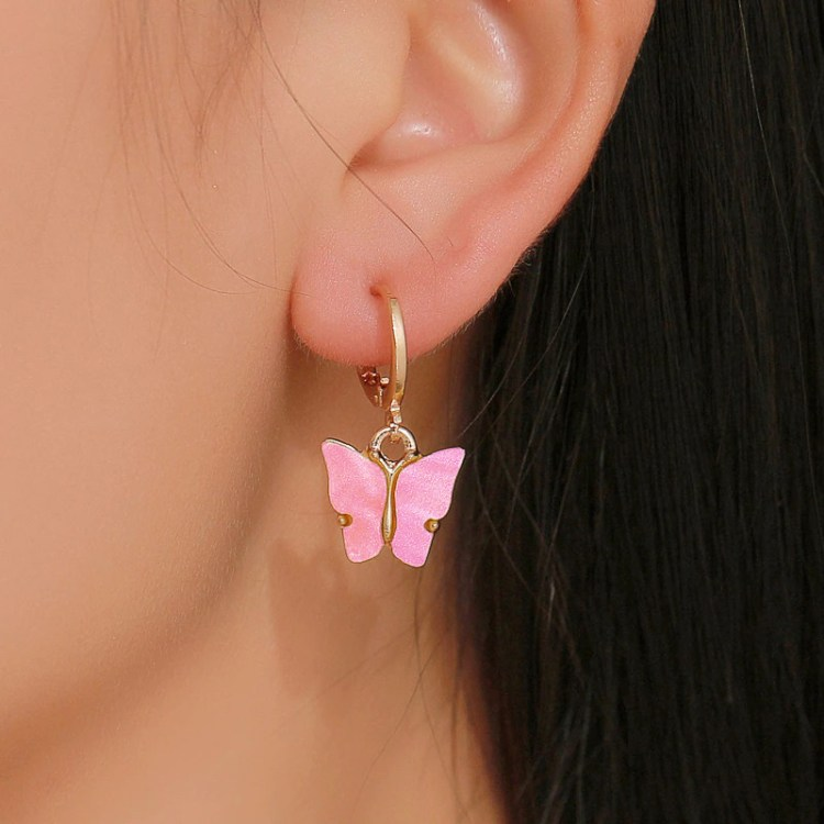 pink gold color butterfly earrings