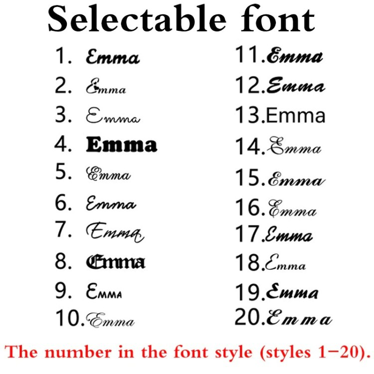 selectable text fonts