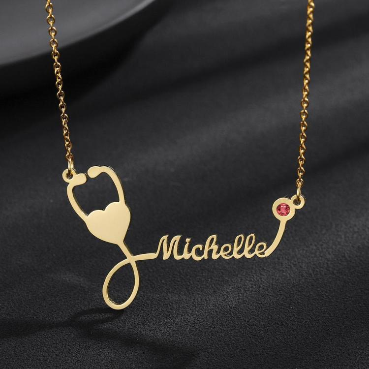 Personalized Custom Customized Name Stethoscope Nameplate Necklace with Birth Month Birth Stone Gift Ideas For Doctors Nurses Hospital Medical Center