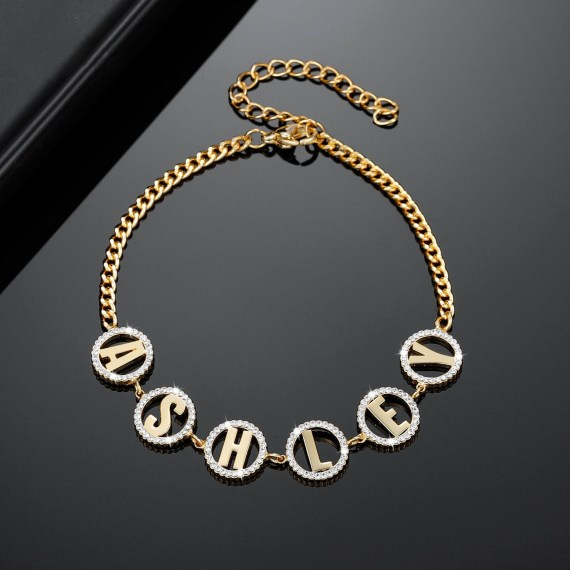 Personalized name bracelet zircon letter bracelet gold stainless steel jewelry for women customized round custom circle letter bangle for girlfriend