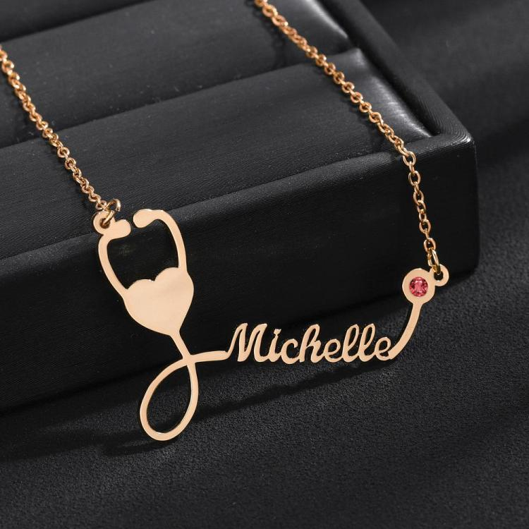 Rose Gold Stethoscope Name Necklace with Custom Birthstone Nameplate Pendant for Nurse Doctor Medical Student Graduation Ceremony Gift Ideas Unique Design