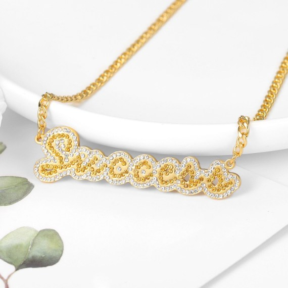 custom personalized bling name necklace with success two tone gold and silver color pendant with cuban chain