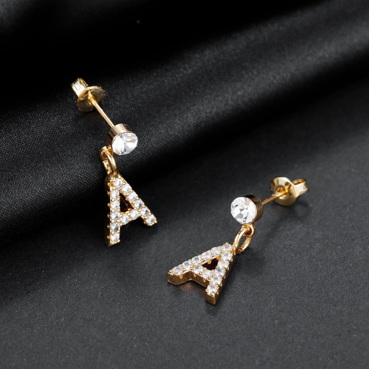 Crystal Inlaid Personalized Custom Jewelry For Women Simple Letter Stud Earring For Teenage Girls Jewelry For Party Outfits