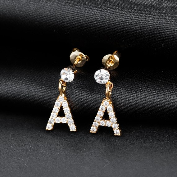 Custom Initial Crystal Letter Earring Stud Letter Earring For Young Ladies Women's Custom Jewelry Beceff Jewelry For Casual Use