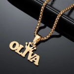 Gold Custom Name Necklace Beceff Jewelry For Women Best Quality Custom Name Necklace For Ladies Crown Name Necklace Regular Wear Jewelry Necklace
