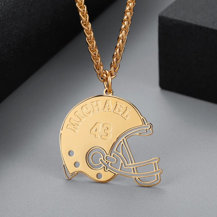 Gold Custom Name Necklace Best Quality Personalized Jewelry For Energetic Men American Football Player Necklace Player Number Name Necklace