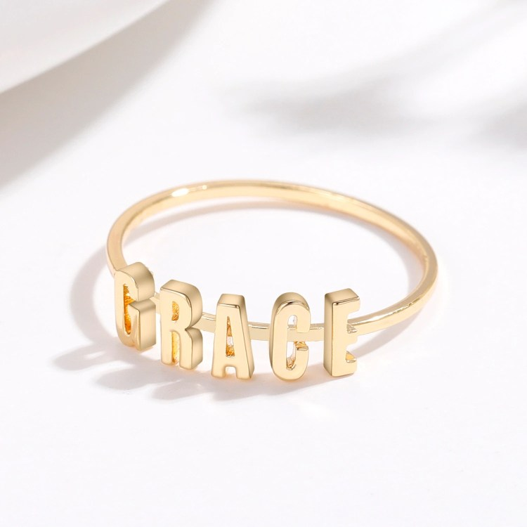 Gold Custom Name Ring For Teenage Girls Simple Looking Personalized Jewelry Ring
