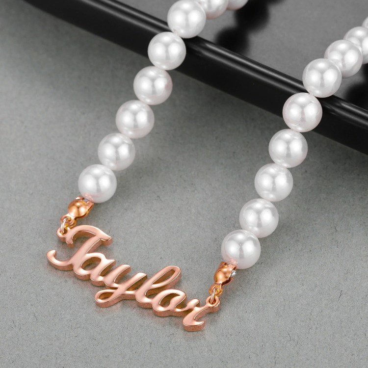 Rose Gold Custom Made Name Necklace Shine Name Necklace Made On Request Personalized Jewelry For Casual Use Best Quality Custom Jewelry For Women