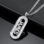 Silver Name Necklace Cubic Zirconia Custom Name Necklace With Crystal Letters For Hip Hop Jewelry