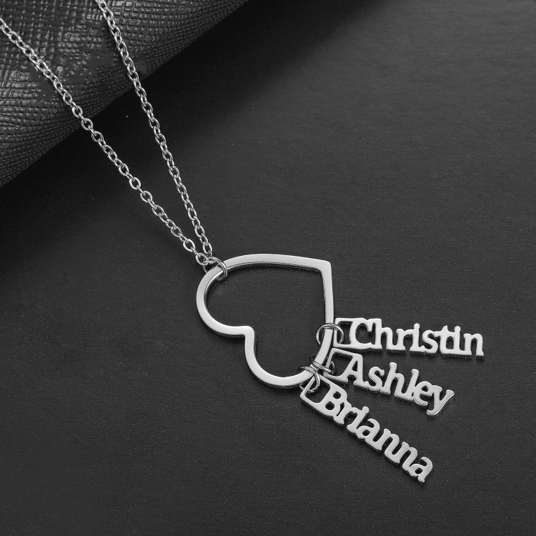 Silver Plated High Quality Premium Stainless Steel Custom Made 3 Names Necklace Jewelry Chain For Women