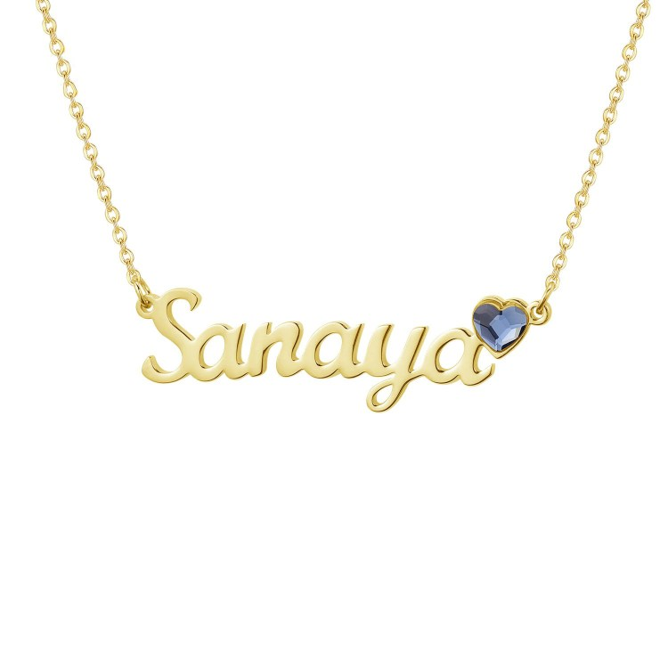 Custom Made Bling Single Name Necklace Birthstone Name Necklace With Link Chain High Quality Personalized Name Necklace For Casual Jewelry Lover Beceff Jewelry For Daily Use