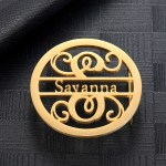 Custom Made High Quality Name Belt Buckle For Men Women Personalized Accessories For Both Men & Women Floral Name Belt Buckle With Round Name Plate For Plain Lychee And Crocodile Belts