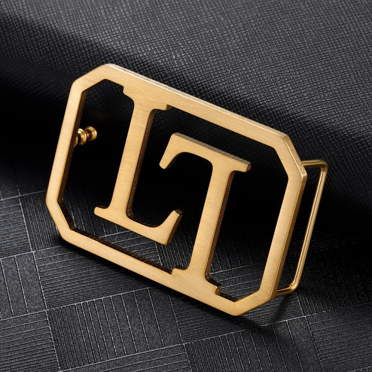 Good Quality Stainless Steel Two English Letter Custom Made Personalized Waist Belt Buckle In Gold Silver Rose Gold Colors Custom Gift To Father's Birthday