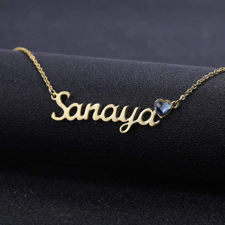 High Quality Crafted Name Necklace With Birthstone Simple Looking Custom Name Necklace For Women Casual Jewelry For Casual Outings Meetup With Friends And Colleagues