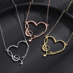 Music Note Custom Name Necklace High Quality Gold Silver Rose Gold Color Plated Custom Made Pendant Design Necklace With My Name Personalized Jewelry From Beceff