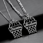 Silver Color Plated Custom Made Stainless Steel Personalized Jewelry Necklace For Sport Lovers Custom Made Simple Looking Jewelry Piece For Casual Use Name Necklace With Basketball Hoop Pendant