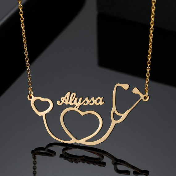 Stethoscope Custom Name Neckae Personalized Name Necklace For Medical Student Graduation Day Gift From Parents To Loving Daughter High Quality Name Necklace For Casual Use