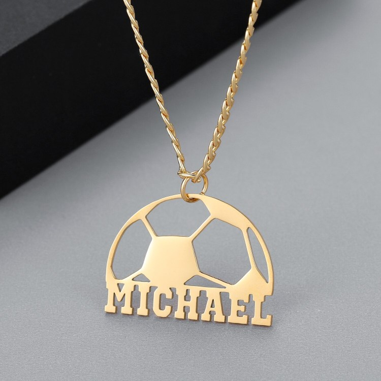 3mm Cuban Chain Name Necklace Rope Name Necklace For Football Lovers Name Necklace Soccer Ball Name Necklace Capital Letter Name Necklace For Sport Lovers