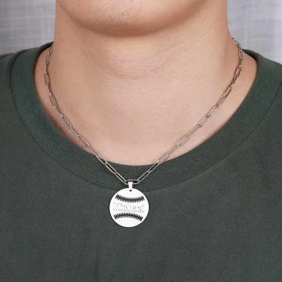 Custom Baseball Name Necklace High Quality Baseball Ball Name Necklace Personalized Name Chain Paperclip Chain Simple Pendant Engraved Name And Player Number