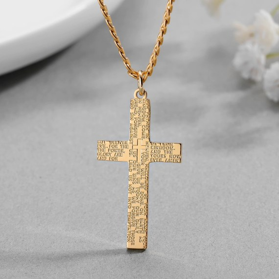 Frosted Custom Name Necklace High Quality Memorable Christmas Gift Personalized Catholic Cross Necklace High Quality Simple Pendant Necklace Christmas Gift