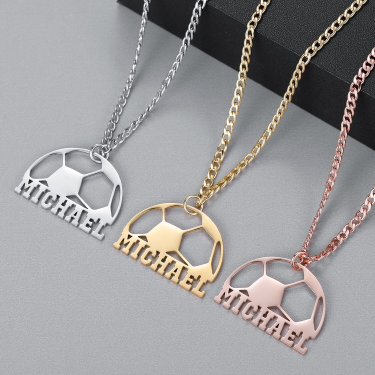 Silver Color Gold Color And Rose Gold Color Plated Custom Name Necklace High Quality One Name Necklace Football Pendant Name Necklace Simple Pendant Name Necklace Personalized Name Charm