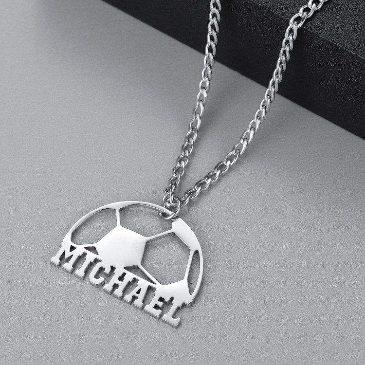 Silver Color Plated Custom Name Necklace For Football Lovers Soccer Player Name Necklace Charm Nameplate Necklace Simple Looking Name Charm For Casual Football Nameplate Necklace
