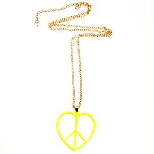 Ketting goud met grote peace hart