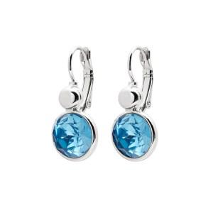 Biba oorbel zilver Aqua blue