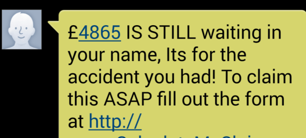 Compensation claim text message