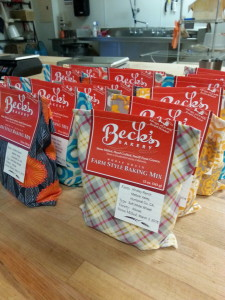 Beck's Farm-Style Baking Mix in reusable cotton drawstring bag.