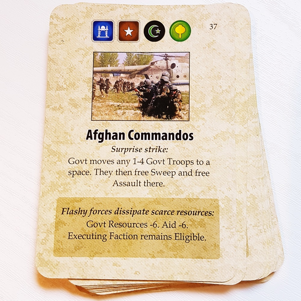 Afghan Commandos card from A Distant Plain board game