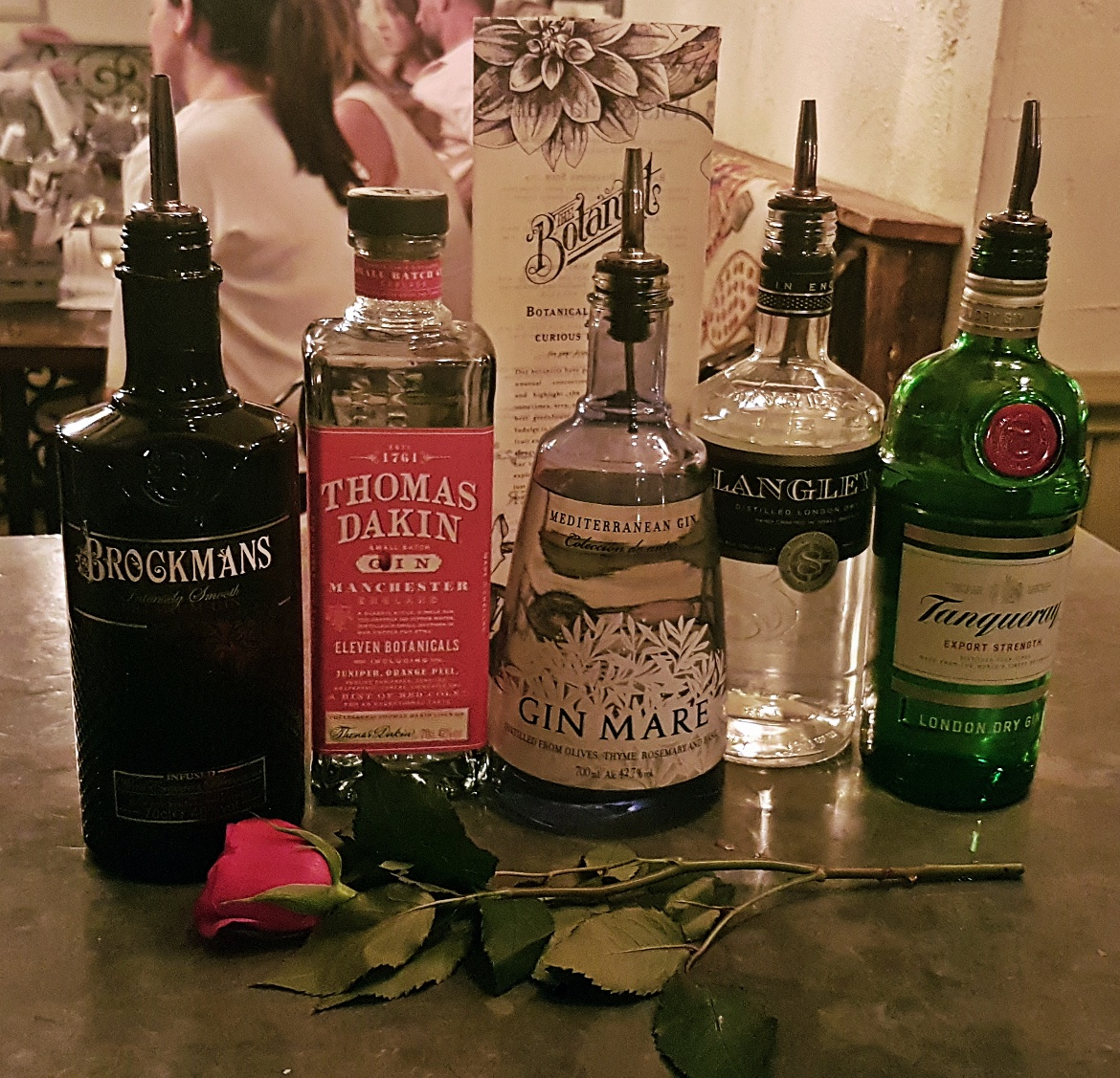 The five gins we tried - Gin Masterclass at the Botanist Leeds, review by BeckyBecky Blogs