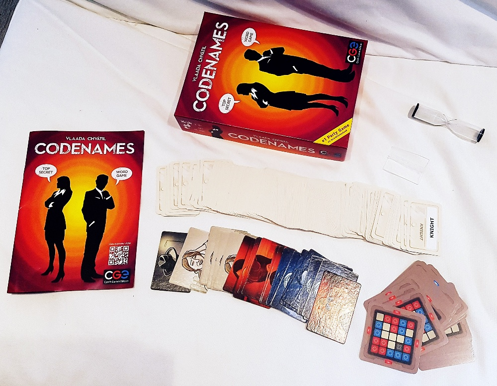 Codenames tabletop card game components