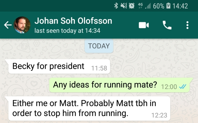 Texts from Johan - Den of Wolves megagame after action report by BeckyBecky Blogs