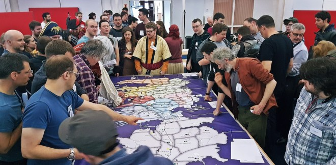 A very busy map table - Everybody Dies Harder, a Game of Thrones megagame by BeckyBecky Blogs