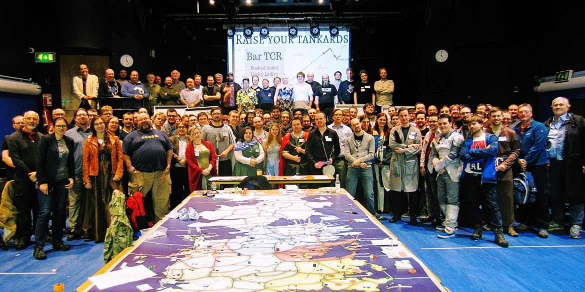 Group photo at Everybody Dies - Goodbye Everybody Dies the Megagame by BeckyBecky Blogs