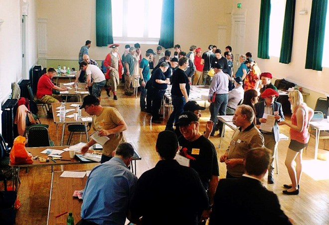 The main hall at Foxes and Devils megagame - After Action Report by BeckyBecky Blogs