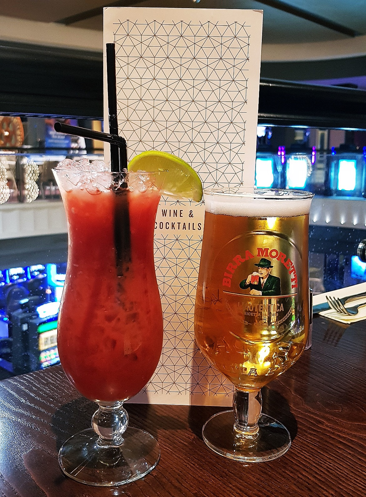 Strawberry daiquiri and beer - Grosvenor Casino Leeds review by BeckyBecky Blogs