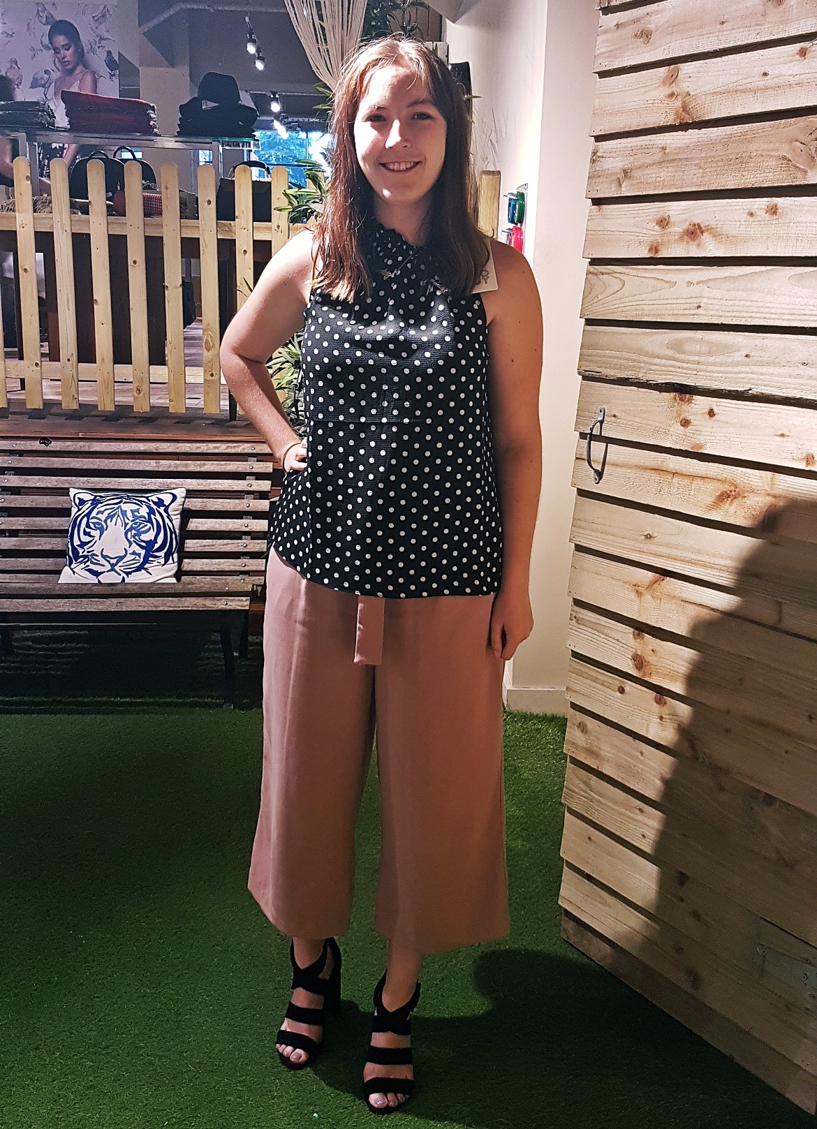 Keeleigh trying on a top - Tune in with Joy the Store, Leeds shop review by BeckyBecky Blogs