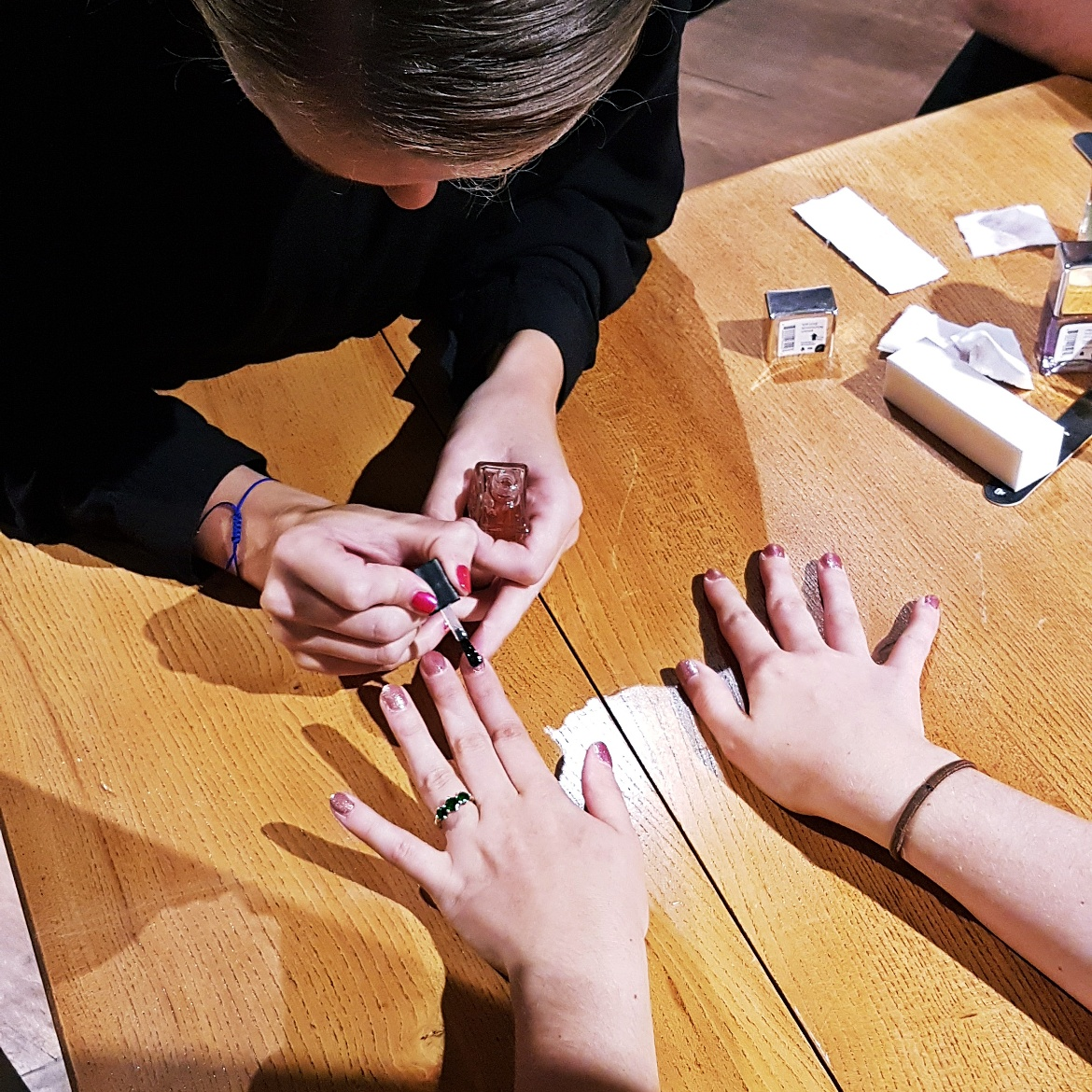 Keeleigh getting her nails painted by Nails Inc - Tune in with Joy the Store, Leeds shop review by BeckyBecky Blogs